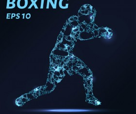 Boxing with points lines 3D vector 01