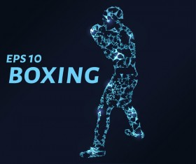 Boxing with points lines 3D vector 02