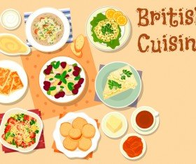 British cuisine food material vector 01