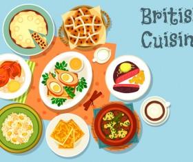 British cuisine food material vector 02