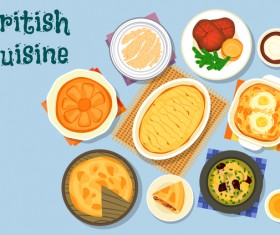 British cuisine food material vector 03