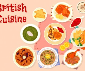 British cuisine food material vector 04