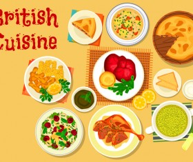 British cuisine food material vector 05