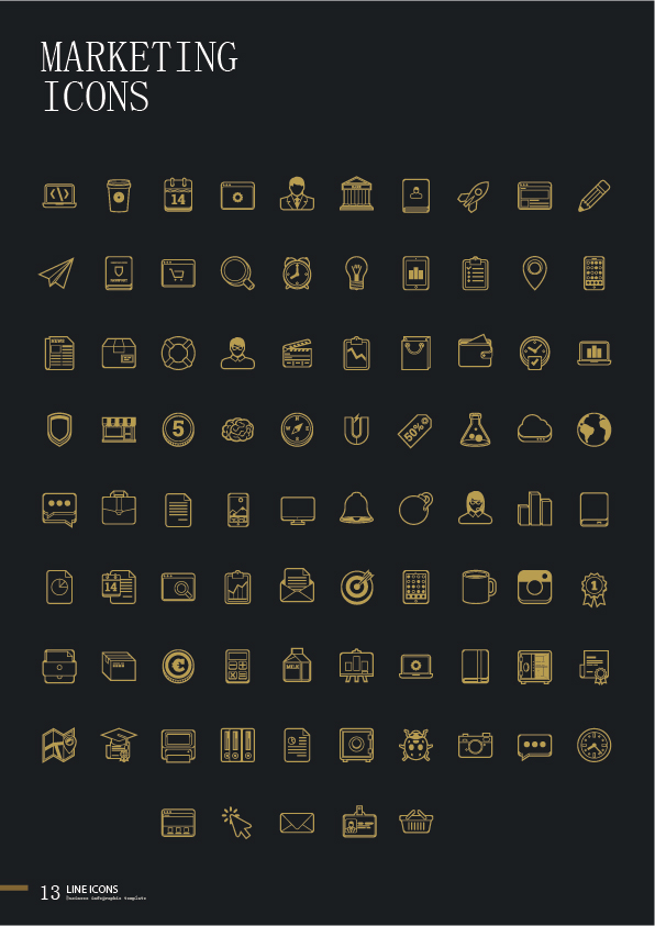 Business marketing icons set