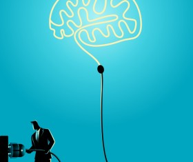 Businessman Silhouette Plug In Brain vector
