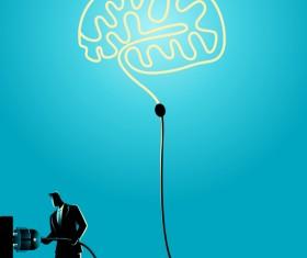 Businessman Silhouette Plug In Brain vector