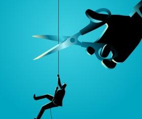 Businessman Silhouette Rope Scissors vector