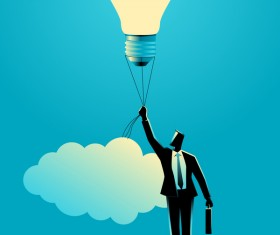 Businessman silhouette with light and bulb balloon vector