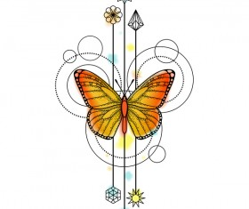 Butterfly with decorative illustration vector