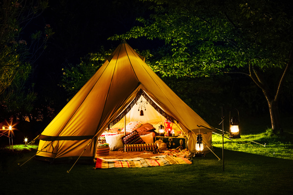 Camping Tent Lights Stock Photo