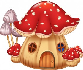 Cartoon mushrooms house vector