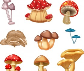 Cartoon mushrooms set vector
