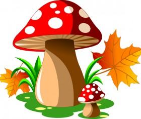 Cartoon mushrooms with autumn leaves vector