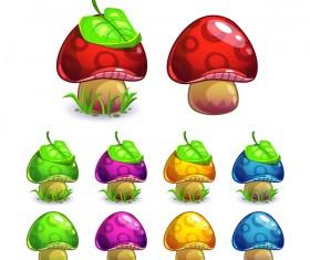 Cartoon mushrooms with leaf vector