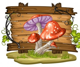 Cartoon mushrooms with wooden background vector