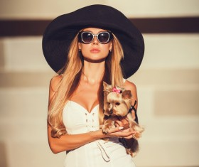 Charming woman with pet dog HD picture 11