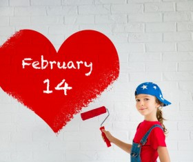Children's heart-shaped white wall Stock Photo 01