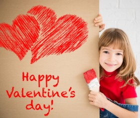 Children's heart-shaped white wall Stock Photo 02