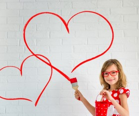 Children's heart-shaped white wall Stock Photo 03