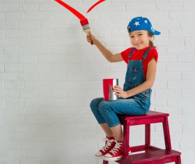 Children's heart-shaped white wall Stock Photo 05