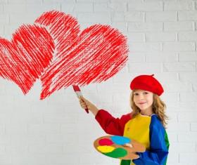 Children's heart-shaped white wall Stock Photo 06