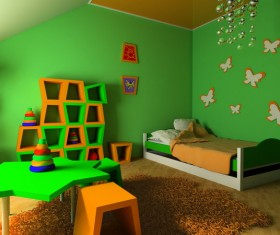 Childrens room green decoration Stock Photo