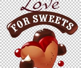 Chocolate sweet dessert label illustration vector 01