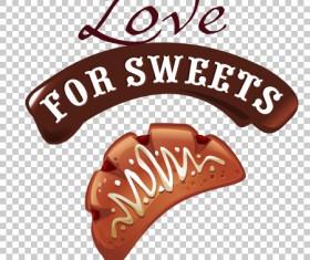 Chocolate sweet dessert label illustration vector 02