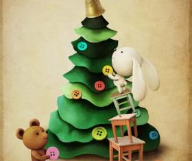 Christmas tree decoration Bear bunny Stock Photo