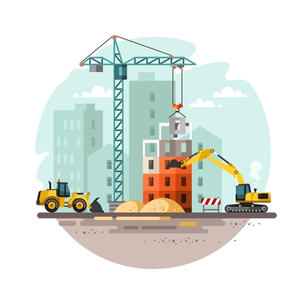City building construction template vectors 13