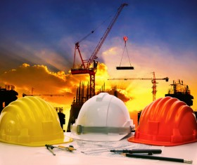 Civil engineer working table with safety helmet Stock Photo 02