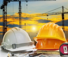 Civil engineer working table with safety helmet Stock Photo 03