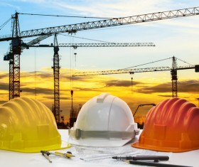 Civil engineer working table with safety helmet Stock Photo 04