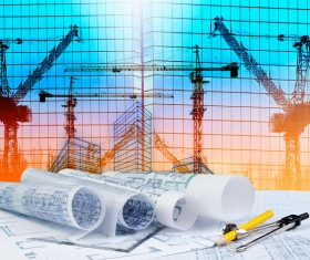 Civil engineer working table with safety helmet Stock Photo 05