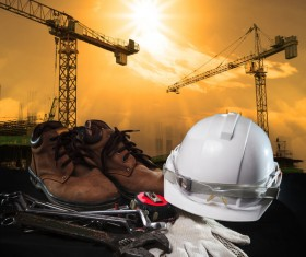 Civil engineer working table with safety helmet Stock Photo 06