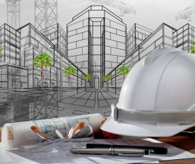 Civil engineer working table with safety helmet Stock Photo 07
