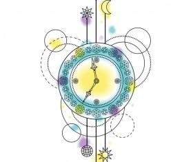 Clock with decorative illustration vector