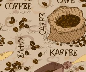 Coffee beans retro vector seamless pattern 01