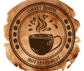 Coffee house badge with grunge watercolor vector