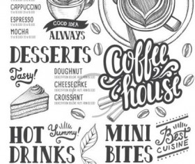 Coffee menu cover design vectors