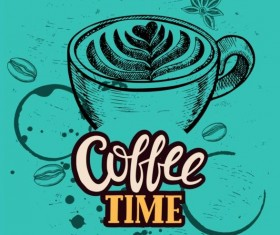Coffee retro background template vector 03
