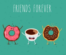 Coffee with donut cartoon characters vector