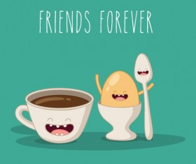 Coffee with egg cartoon characters vector