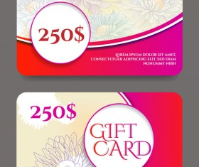 Collection gift cards with voucher vector 06