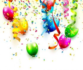 Colored balloon with confetti and white background vector