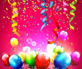 Colored balloon with confrtti birthday background vector
