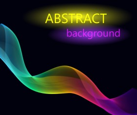 Colored light wavy with black background vector 01