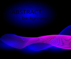 Colored light wavy with black background vector 03