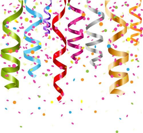 colorful ribbon with confetti vector background free download rh freedesignfile com confetti vector png confetti vector image