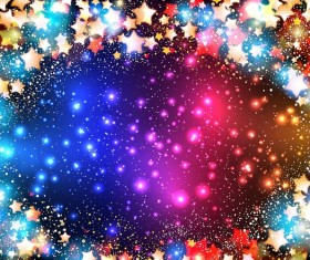 Colorful stars with shiny background vector